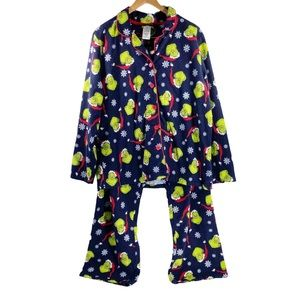 Seuss Grinch Christmas Flannel Pajama Set PJ Sleep